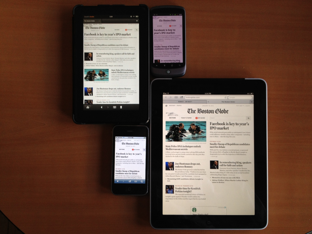 four screens, two orientations, one Boston Globe 2